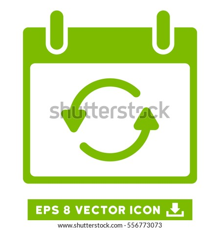 Refresh Calendar Day icon. Vector EPS illustration style is flat iconic symbol, eco green color.