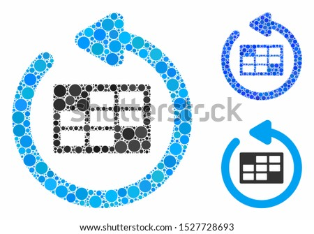 Refresh calendar table composition of circle elements in different sizes and color tinges, based on refresh calendar table icon. Vector circle elements are united into blue composition.