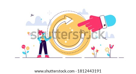 Refresh concept, flat tiny person vector illustration. Restart project with a new vision or rework the strategy. Renew life goals and direction. Reload new system updates abstract stylized symbol. Foto d'archivio ©