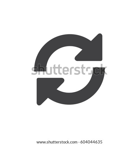 Shutterstock Refresh icon in black on a white background. Vector illustration