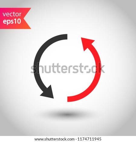 Refresh icon. Reload sign. Undo vector icon. Redo symbol. Update icon. Rotation sign. Arrow icon. EPS 10 flat symbol