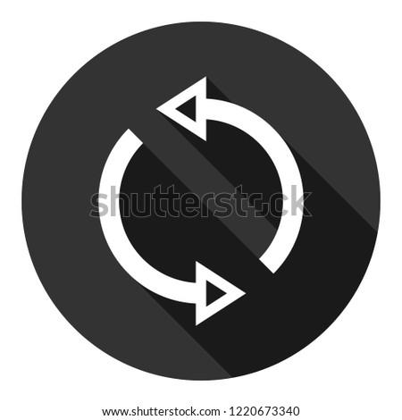 Refresh icon. Reload sign. Undo vector icon. Redo symbol. Update icon. Rotation sign. Arrow icon. EPS 10 flat symbol. Round symbol with shadow
