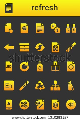refresh icon set. 26 filled refresh icons.  Simple modern icons about  - File, Exchange, Change, Back, Filing, Recycle, Redo, Conditioner, Transfer, Encore, Recycling, Arrow, Shuffle