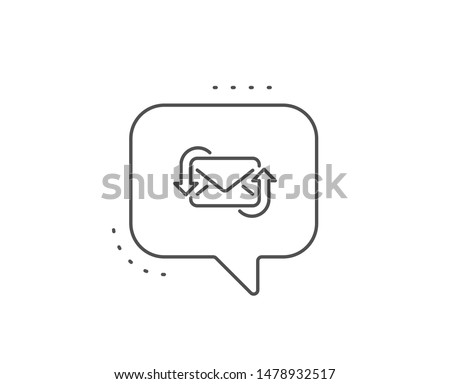 Refresh Mail line icon. Chat bubble design. New Messages correspondence sign. E-mail symbol. Outline concept. Thin line refresh Mail icon. Vector