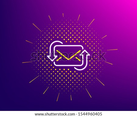 Refresh Mail line icon. Halftone pattern. New Messages correspondence sign. E-mail symbol. Gradient background. Refresh Mail line icon. Yellow halftone pattern. Vector