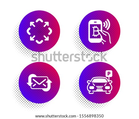 Refresh mail, Maximize and Bitcoin pay icons simple set. Halftone dots button. Parking sign. New e-mail, Full screen, Mobile payment. Car park. Technology set. Classic flat refresh mail icon. Vector