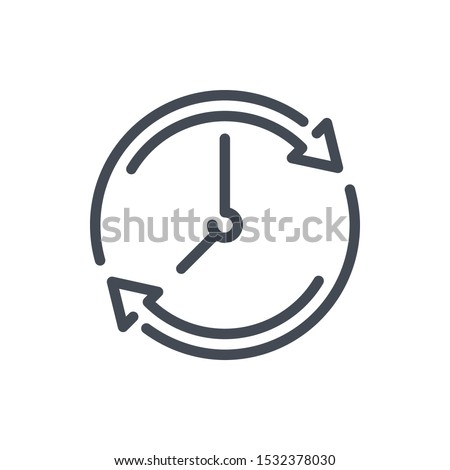 Refresh time line icon. Update clock vector outline sign.