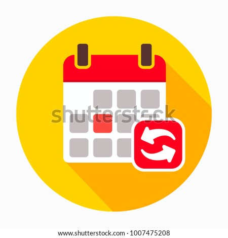 Refresh update calendar icon vector, filled flat sign, solid pictogram isolated on white. Calendar and arrows around symbol, logo illustration
