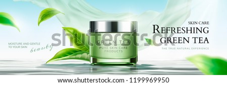 Refreshing green tea skin care banner ads with flying leaves and chiffon element in 3d illustration