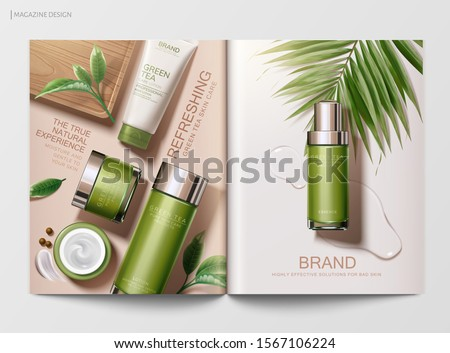 Refreshing green tea skincare product magazine template with flat lay angle in 3d illustration