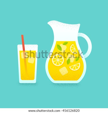 Refreshing lemonade illustration. Glass with straw and pitcher with lemons and ice cubes. Retro style illustration with vintage texture.