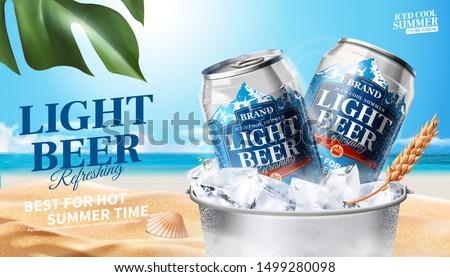 refreshing light beer in ice