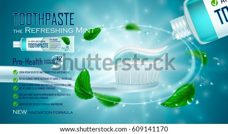 Refreshing mint, Toothpaste ads design. White and blue Toothpaste on toothbrush, water drops, mint leaves. Drawn elements,3d vector illustration, cosmetics product, blure, shine, sparkling background.