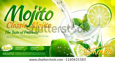 Refreshing mojito ads with beverage pouring into a glass cup, lime and mint elements in 3d illustration