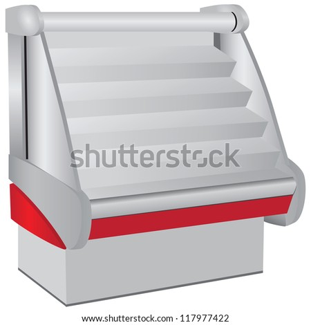Refrigerated display for use as commercial equipment. Vector illustration.