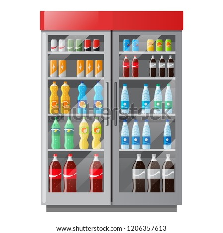 Refrigeration showcase with drinks in colorful bottles in flat style. Soda, lemonade, mineral water. Fridge in shop. Vector illustration.
