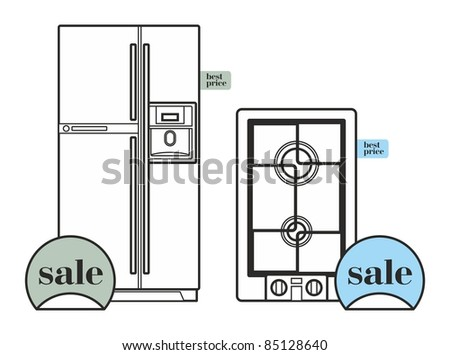 refrigerator and cooktop