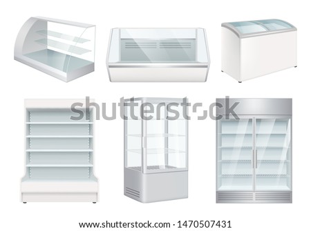Refrigerator empty. Supermarket retail equipment vector realistic refrigerators for store. Refrigerator for retail or supermarket, showcase for cafe illustration