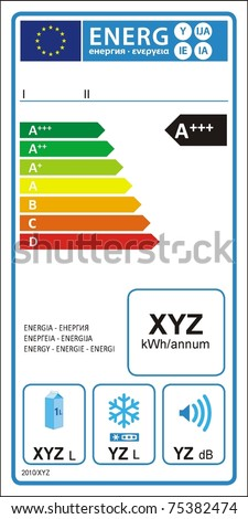 Refrigerator machine energy rating graph label in vector.