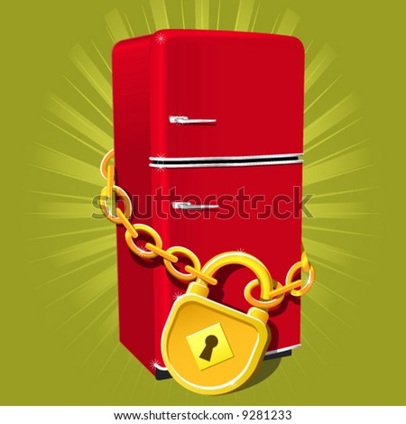 Refrigerator with chain and lock - diet symbol
