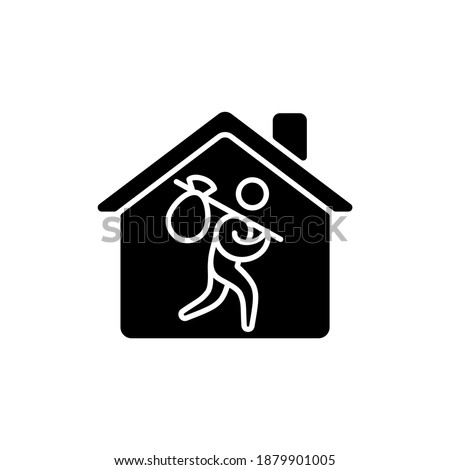 Refugee shelter black glyph icon. Temporary tent accommodation. Transitional shelter. Tent city. Asylum seekers. Refugee camp. Silhouette symbol on white space. Vector isolated illustration ストックフォト ©