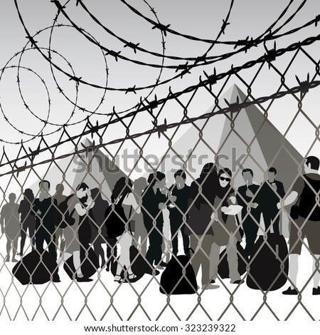 refugees behind chain link