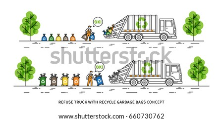 Refuse truck with recycle garbage bags vector illustration. Dustman takes out rubbish bins and bags to garbage truck line art concept. Refuse collector removes garbage graphic design.
