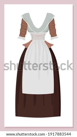 Regency maid dress. Neoclassicism costume. Domestic maid, governess, nanny uniform