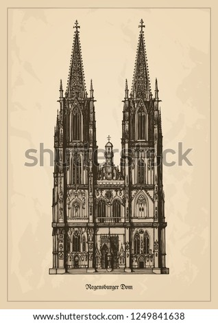 Regensburg Cathedral (Dom St. Peter or Regensburger Dom) landmark for the city of Regensburg - example of Gothic architecture within the German state of Bavaria - vintage vector illustration