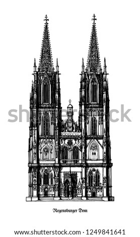 Regensburg Cathedral (Dom St. Peter or Regensburger Dom) landmark for the city of Regensburg - example of Gothic architecture within the German state of Bavaria - black and white vector illustration