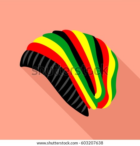 Shutterstock Reggae beanie rasta hat icon. Flat illustration of reggae beanie rasta hat vector icon for web design