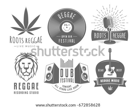 Reggae logos. Vector badges for reggae festival, radio station or rastafarian bar. Vintage music labels with marijuana leaf, vinyl disc, microphone, guitar, lion and speakers.