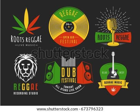 reggae logos vector badges for