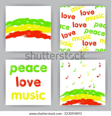 reggae peace love music cards