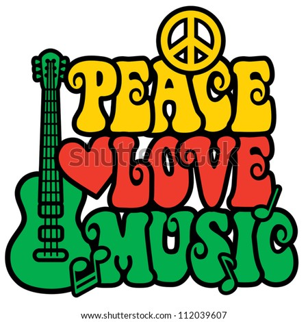 Reggae Peace Love Music design with guitar, peace symbol, heart and musical notes in Rasta colors.