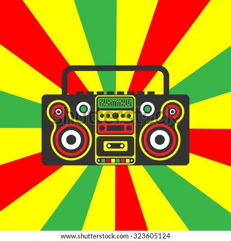 reggae rastafarian boombox on a