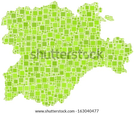 Region of Castile and Leon - Spain - in a mosaic of green squares