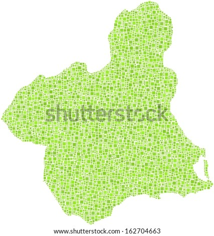 Region of Murcia - Spain - in a mosaic of green squares.  A number of 5885 little squares are accurately inserted into the mosaic. White background.