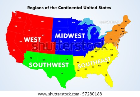 Colorful Vector Map Of The United States Download Free Vector - Midwest united states map