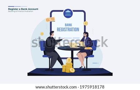Register a bank account, Opening bank account illustration concept