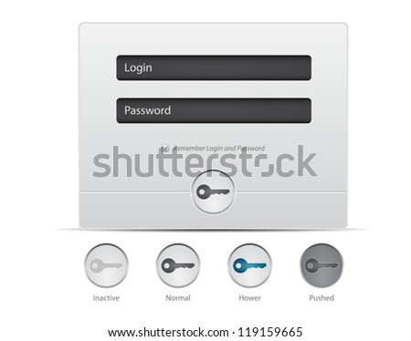 Register and Login Web Window on white background. Vector UI elements