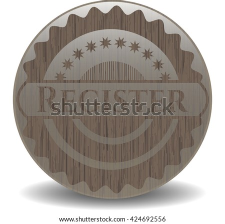 Register badge with wooden background