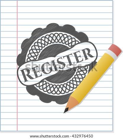 Register emblem draw with pencil effect