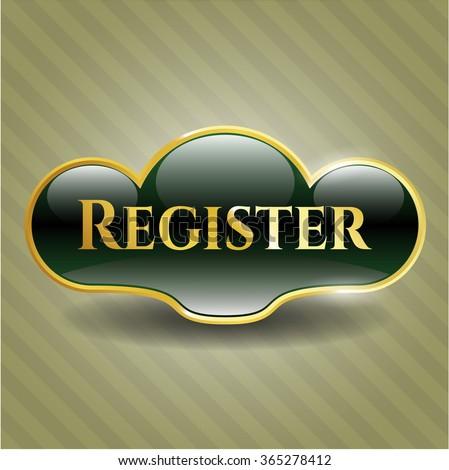 Register gold shiny badge