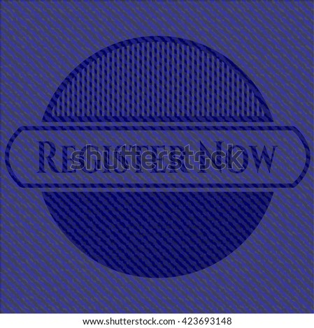 Register Now badge with jean texture