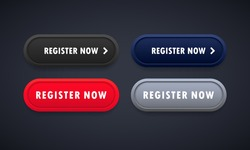 Register now button set. For website. Registration. Vector on isolated background. EPS 10