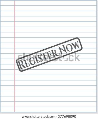 Register Now emblem drawn in pencil