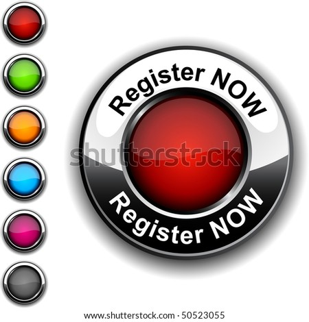 Register now  realistic button. Vector.