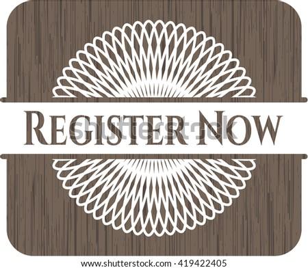 Register Now retro wood emblem