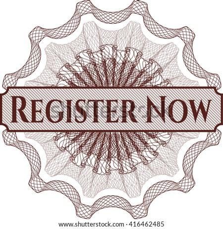 Register Now rosette or money style emblem